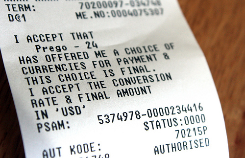 A receipt showing DCC payment.