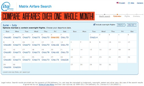 Flexible airfare calendar search