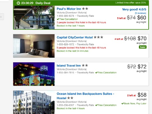 Travelocity hotel search results