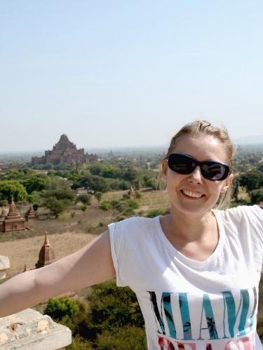 Jo traveling in Bagan, Burma
