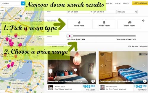 縮小製作的Airbnb搜索結果