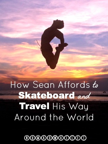 Sean travels with a skateboard and a backpack.