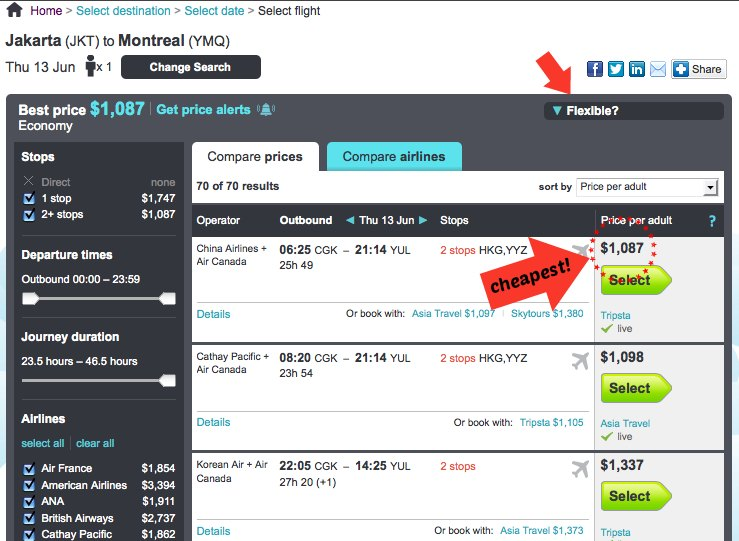 Finding the cheapest airfare on Skyscanner.