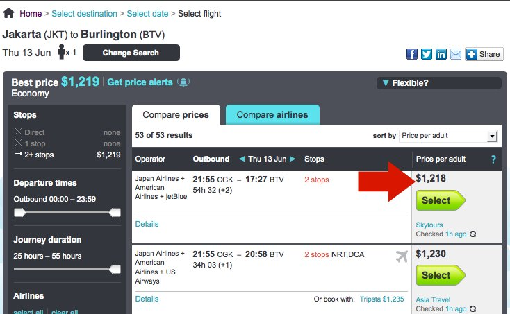Flexible airfare booking on Skyscanner