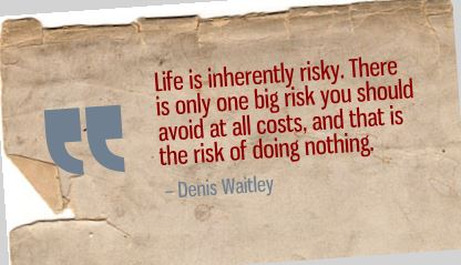 Life is inherently risky. Denis Waitley quote.