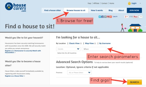 Browse house-sitting jobs for free