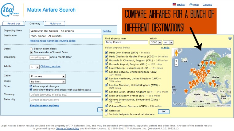 Search airfares for multiple destinations
