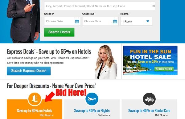 Priceline Homepage Hotel Bidding Option