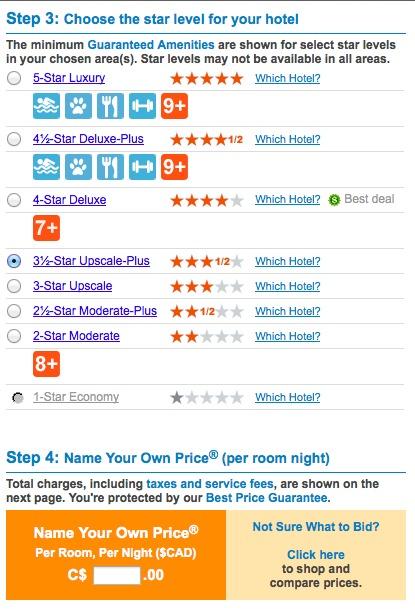 Priceline Name Your Own Price bidding form
