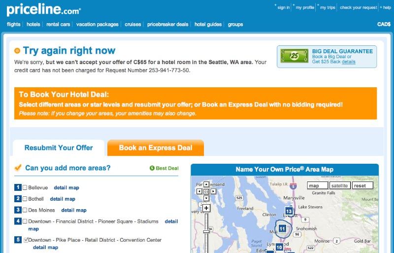 Priceline rejected hotel bid