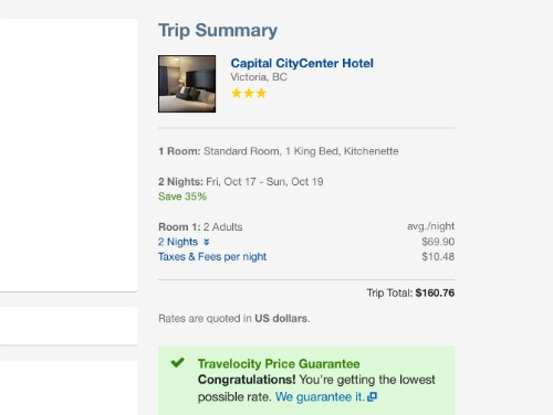 Hotel booking on Travelocity