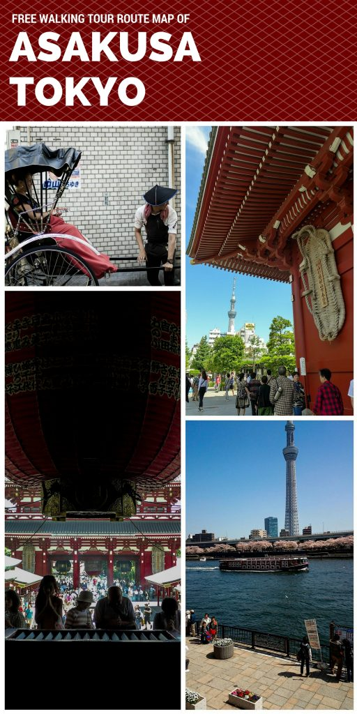 Walking tour route map of free attractions in Asakusa, Tokyo